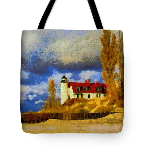 Tote Bag featuring the painting Point Betsie Lighthouse by Kai Saarto