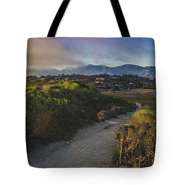 Tote Bag featuring the photograph Point Dume Sunset Panorama by Andy Konieczny