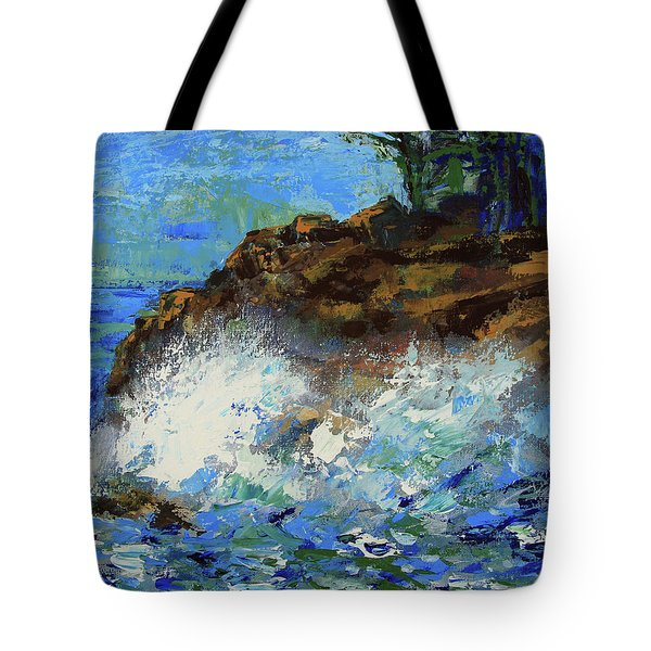 Tote Bag featuring the painting Point Lobos Crashing Waves by Walter Fahmy