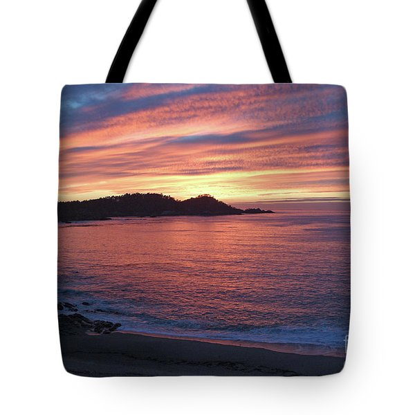 Point Lobos Red Sunset Tote Bag