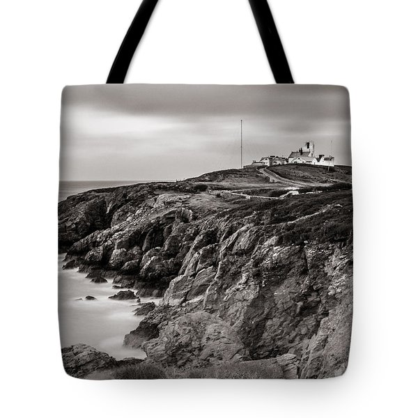 Point Lynas Lighthouse In Llaneilian On Anglesey Tote Bag