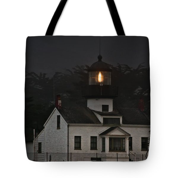 Point Pinos Lighthouse Ca Tote Bag by Christine Till