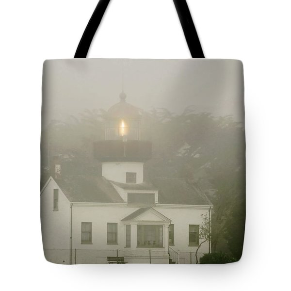 Point Pinos Lighthouse In A Foggy Night - Pacific Grove Monterey Central Ca Tote Bag by Christine Till