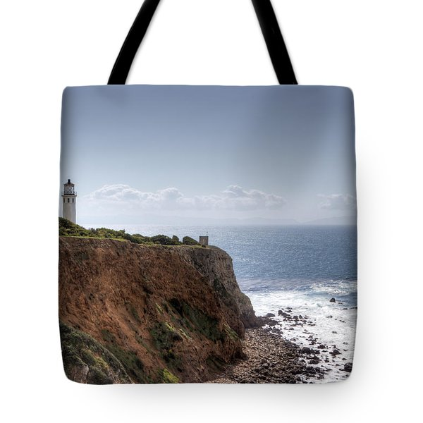 Point Vicente Lighthouse In Winter Tote Bag