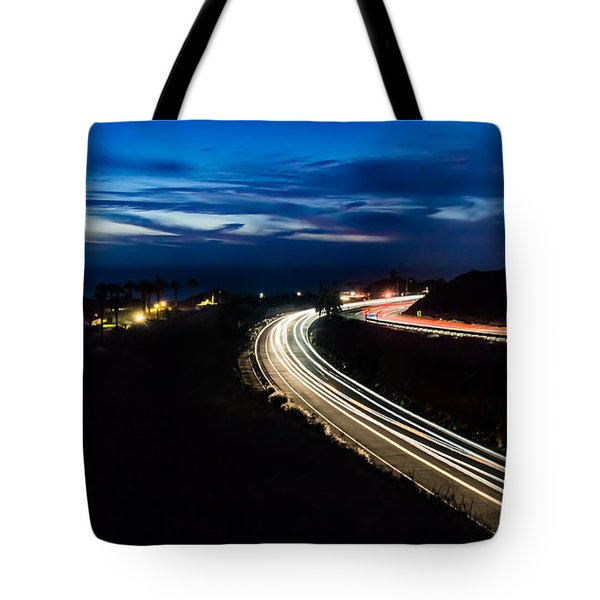 Point Vincente Light Trails Tote Bag