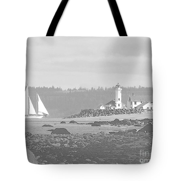 Point Wilson Lighthouse And Sailboat Tote Bag