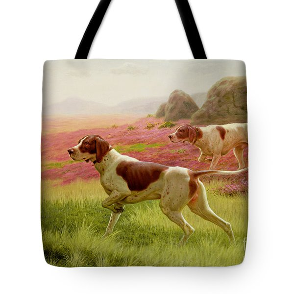 Pointers In A Landscape Tote Bag by Harrington Bird