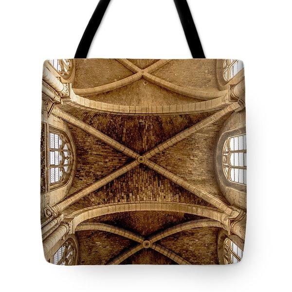 Poissy, France - Ceiling, Notre-dame De Poissy Tote Bag
