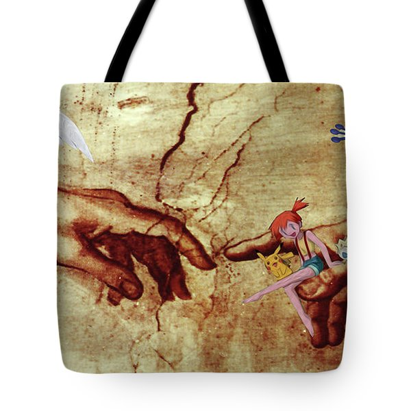 Tote Bag featuring the digital art Pokeangelo Sistine Chapel by Greg Sharpe