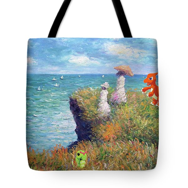 Tote Bag featuring the digital art Pokemonet Seaside by Greg Sharpe