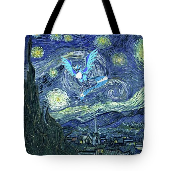 Tote Bag featuring the digital art Pokevangogh Starry Night by Greg Sharpe