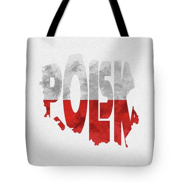 Poland Typographic Map Flag Tote Bag