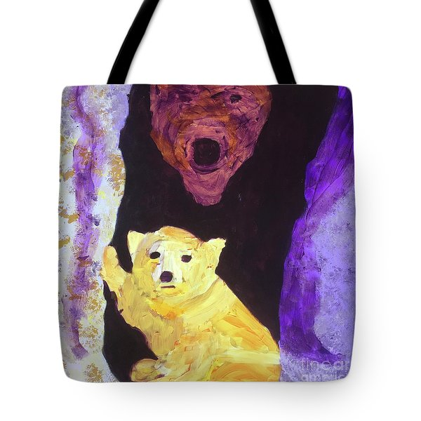 Tote Bag featuring the painting Cave Bear With Cub by Donald J Ryker III