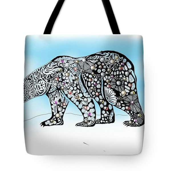 Tote Bag featuring the digital art Polar Bear Doodle by Darren Cannell