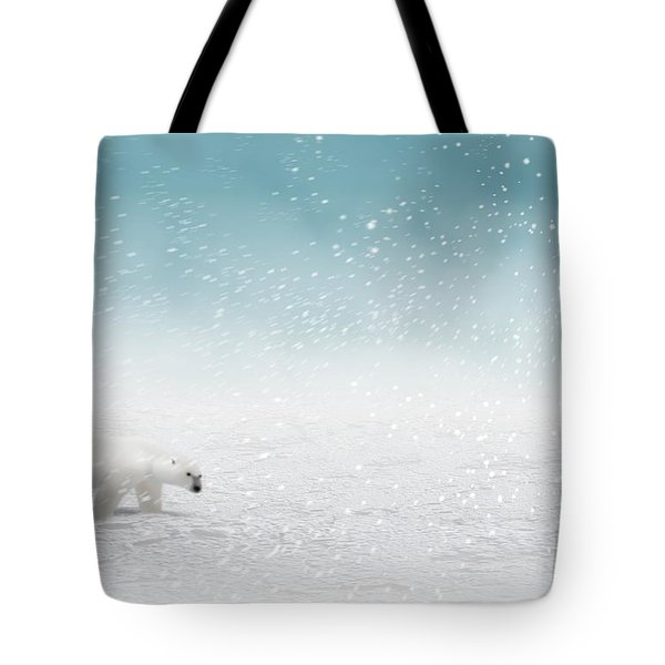Tote Bag featuring the digital art Polar Bear In Snow by John Wills