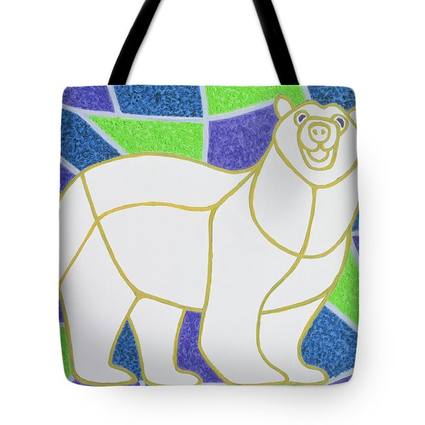 Polar Bear On Stained Glass Tote Bag
