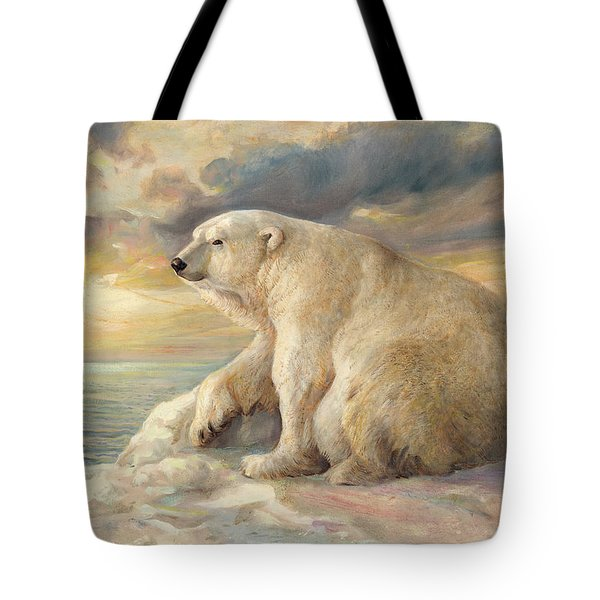 Tote Bag featuring the painting Polar Bear Rests On The Ice - Arctic Alaska by Svitozar Nenyuk