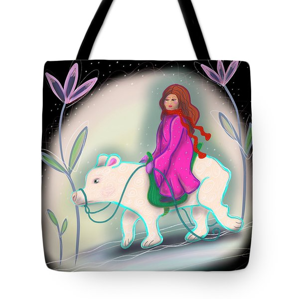 Tote Bag featuring the digital art Polar Bear Rider by Marti McGinnis