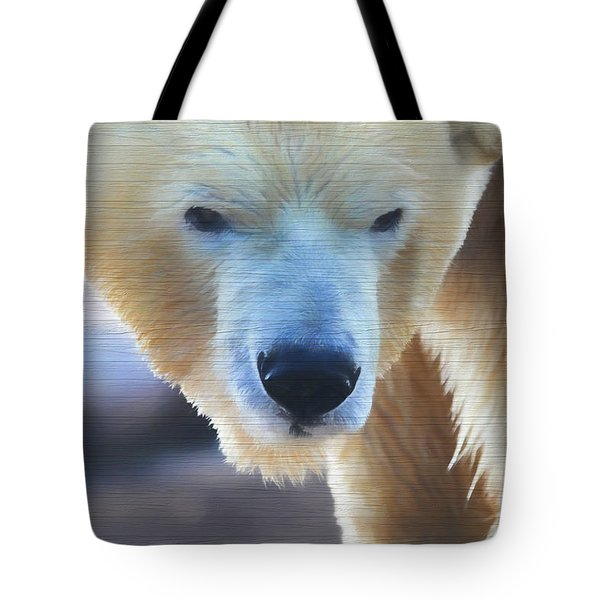 Polar Bear Wooden Texture Tote Bag by Dan Sproul