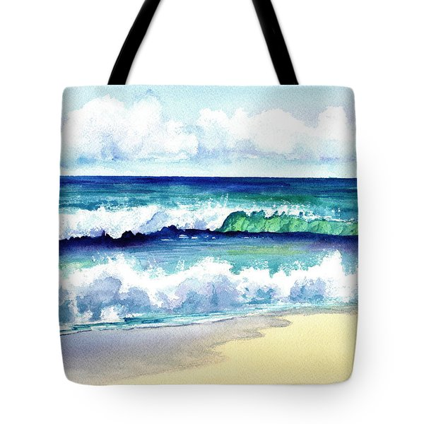 Tote Bag featuring the painting Polhale Waves 3 by Marionette Taboniar