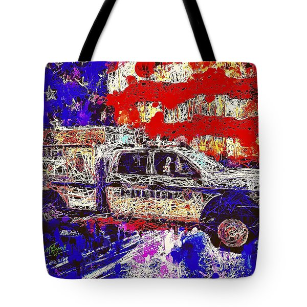 Tote Bag featuring the mixed media Police Truck by Al Matra