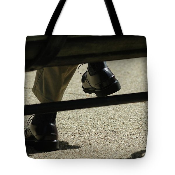 Polished Shoes On Bench Tote Bag