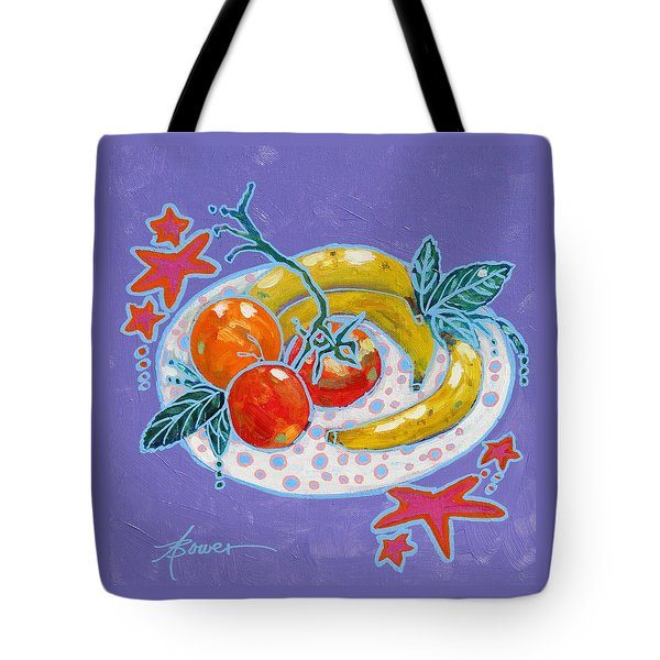 Polka-dot Plate  Tote Bag by Adele Bower