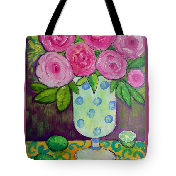 Tote Bag featuring the painting Polka-dot Vase by Rosemary Aubut