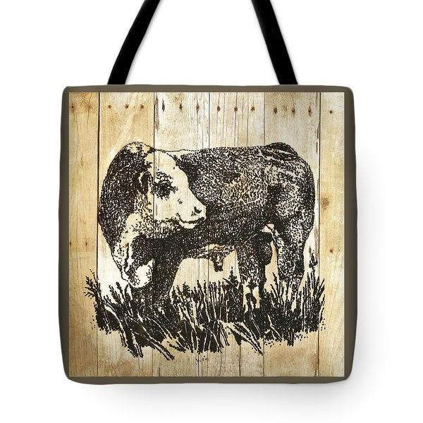 Tote Bag featuring the photograph Polled Hereford Bull 11 by Larry Campbell