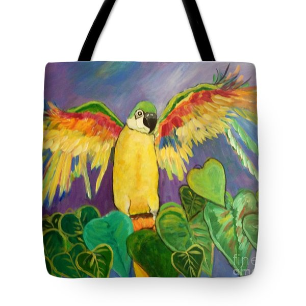 Tote Bag featuring the painting Polly Wants More Than A Cracker by Rosemary Aubut