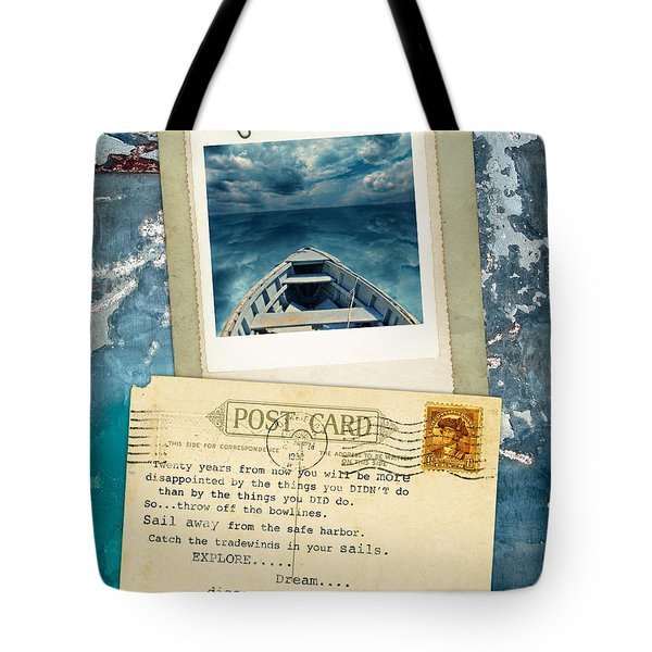Poloroid Of Boat With Inspirational Quote Tote Bag by Jill Battaglia