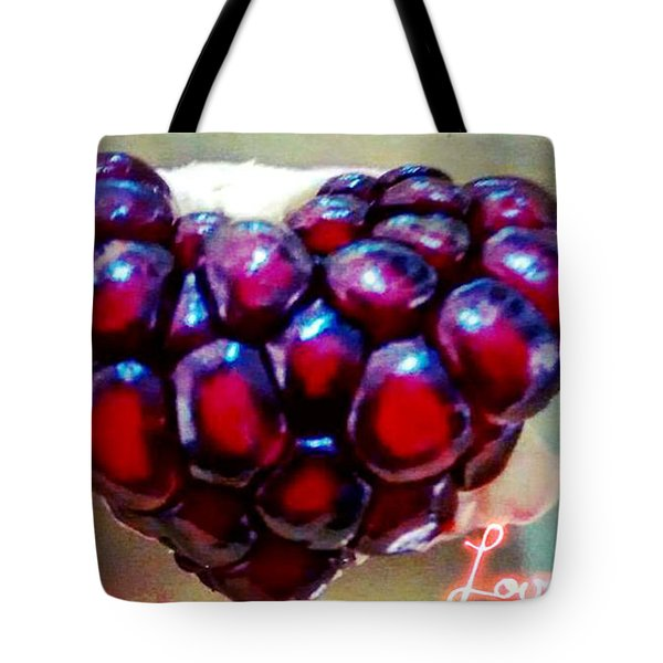 Tote Bag featuring the digital art Pomegranate Heart by Genevieve Esson