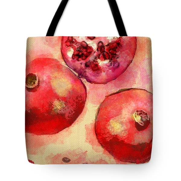 Tote Bag featuring the photograph Pomegranate In Red Lettering by Suzanne Powers