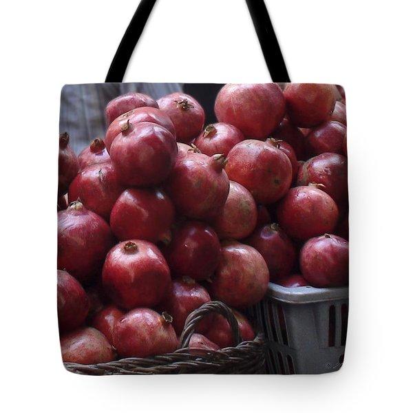 Pomegranates At Jerusalem's Old City Market Tote Bag