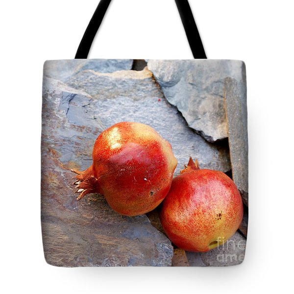 Tote Bag featuring the photograph Pomegranates On Stone by Cindy Garber Iverson