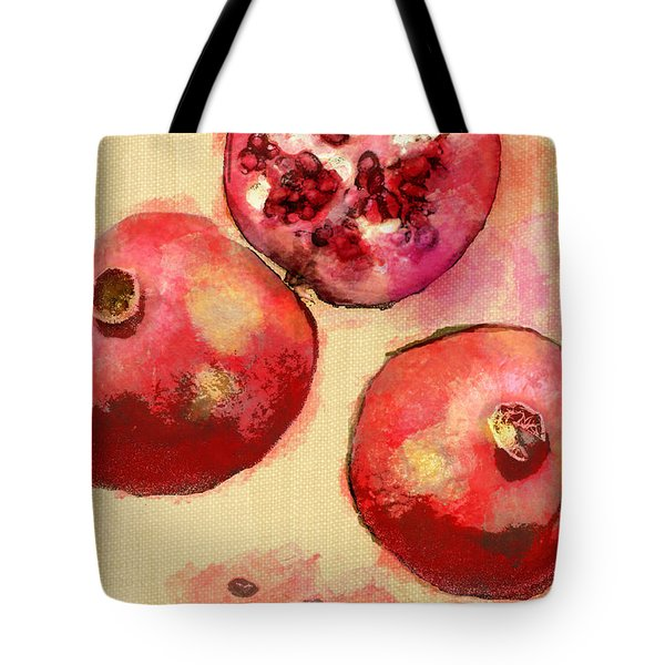 Tote Bag featuring the photograph Pomegranates Without Lettering by Suzanne Powers
