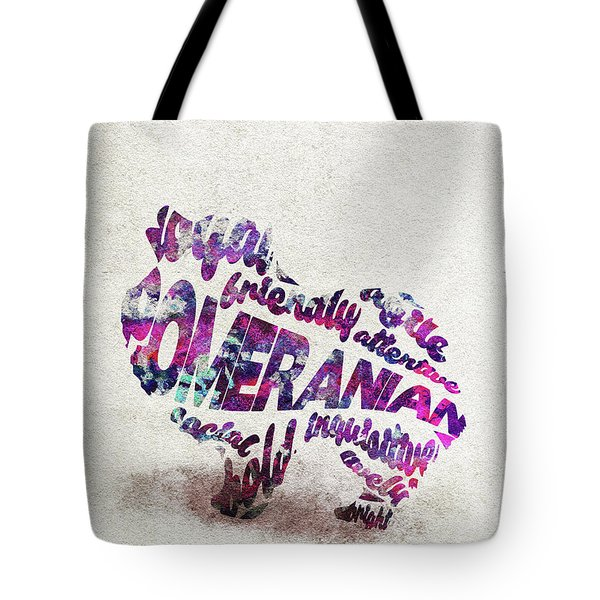 Tote Bag featuring the painting Pomeranian Dog Watercolor Painting / Typographic Art by Inspirowl Design
