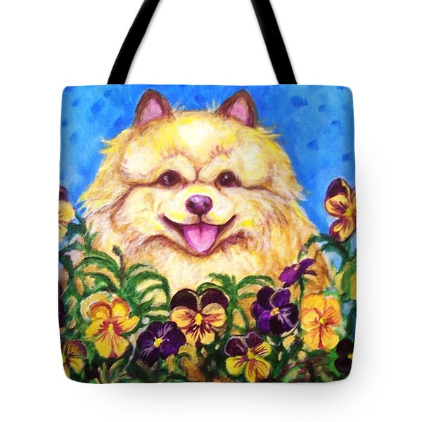 Pomeranian With Pansies Tote Bag