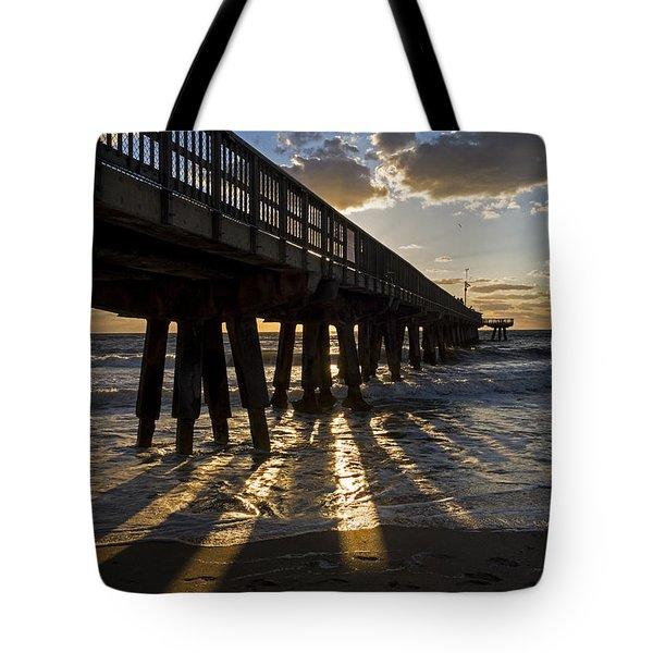 Pompano Beach Fishing Pier At Sunrise Florida Sunrays Tote Bag