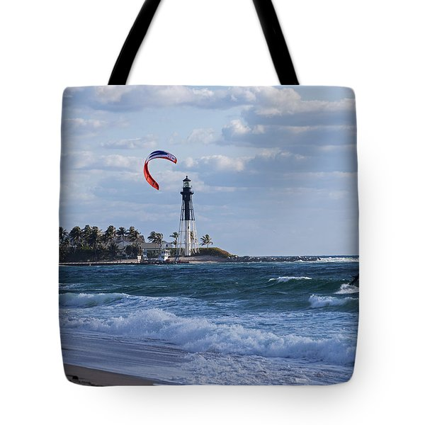 Pompano Beach Kiteboarder Hillsboro Lighthouse Tote Bag