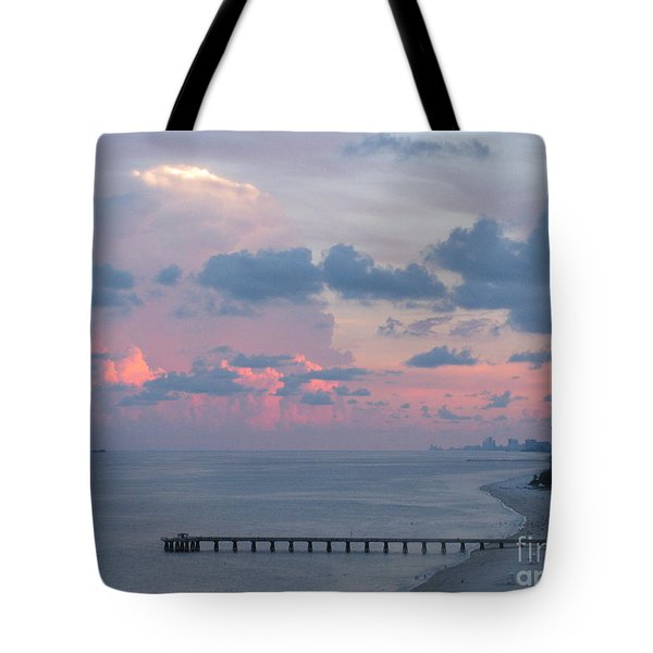 Pompano Pier At Sunset Tote Bag