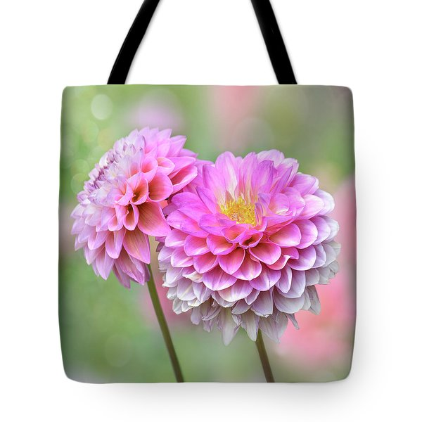 Tote Bag featuring the photograph Pompon Dahlias by John Poon