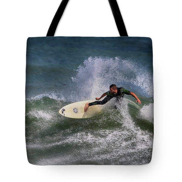 Tote Bag featuring the photograph Ponce Surfer 2017 by Deborah Benoit