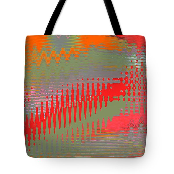Tote Bag featuring the digital art Pond Abstract - Summer Colors by Ben and Raisa Gertsberg