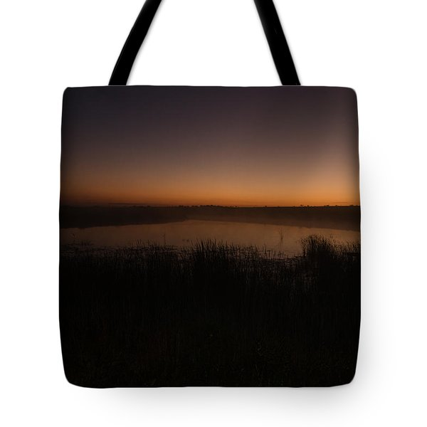 Pond And Cattails At Sunrise Tote Bag