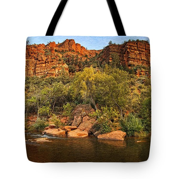 Pond At Red Rock Crossing Text Tote Bag