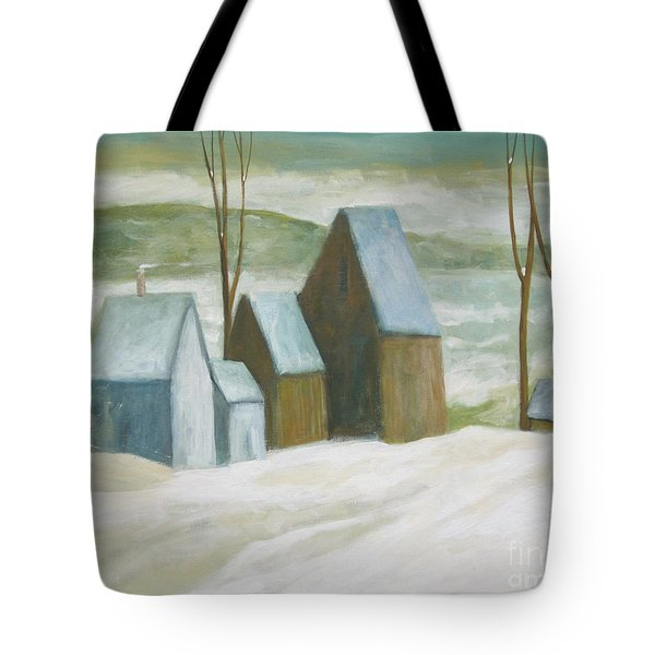 Tote Bag featuring the painting Pond Farm In Winter by Glenn Quist