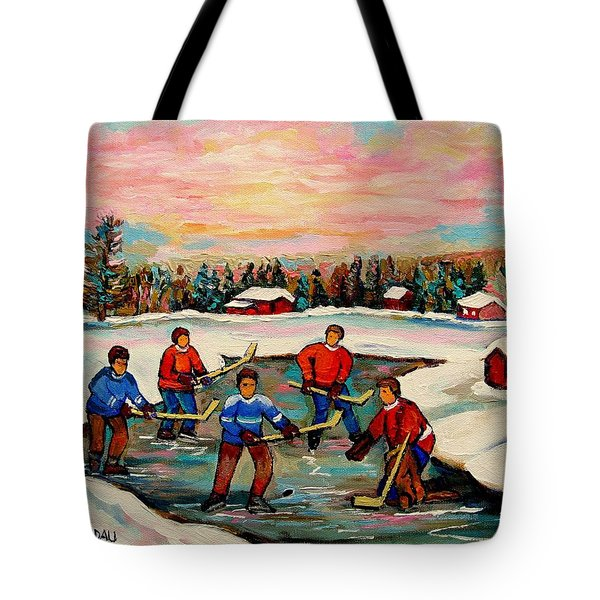 Pond Hockey Countryscene Tote Bag by Carole Spandau