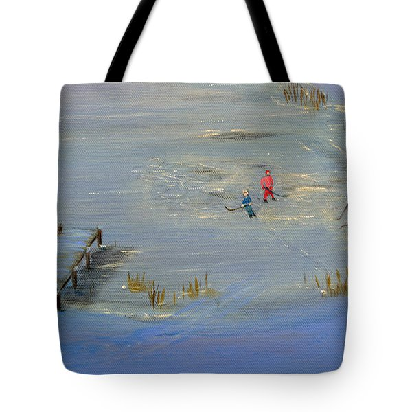 Pond Hockey Tote Bag
