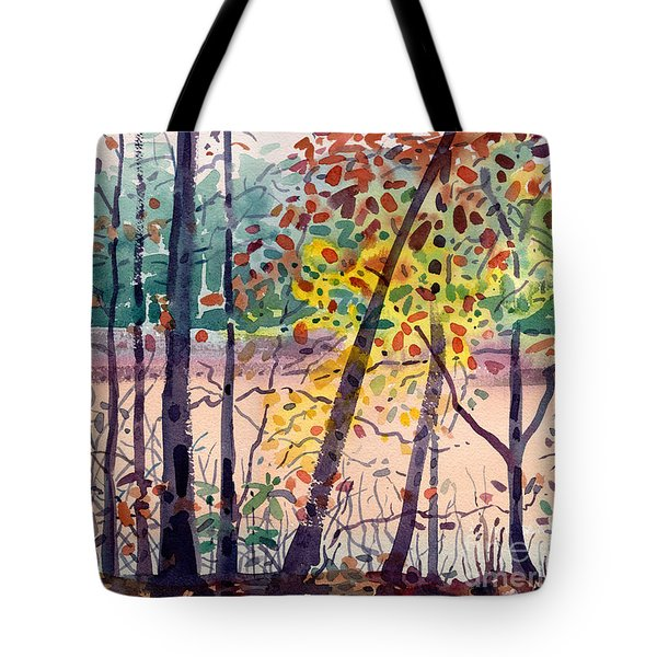 Pond In Fall Tote Bag by Donald Maier